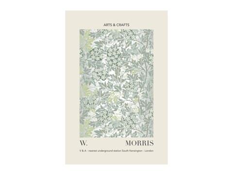 William Morris - grau-gruenes Blatt- und Blumenmuster