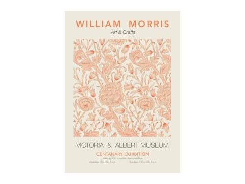 William Morris - orangefarbenes Blumenmuster