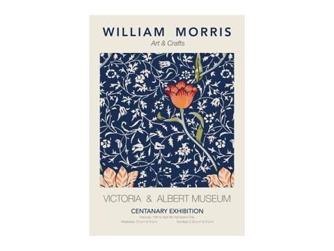 William Morris - bau-rotes Blumenmuster