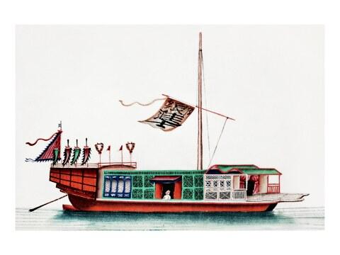 Chinesisches Gemaelde eines Flusspassagierschiffs