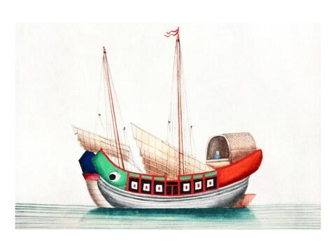 Chinesische Malerei mit altem chinesischem Seeschiff