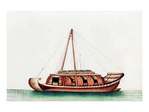 Chinesische Malerei mit Flussfrachtschiff