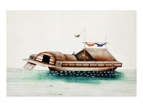 Chinesische Malerei eines altes chinesischen Schiffs