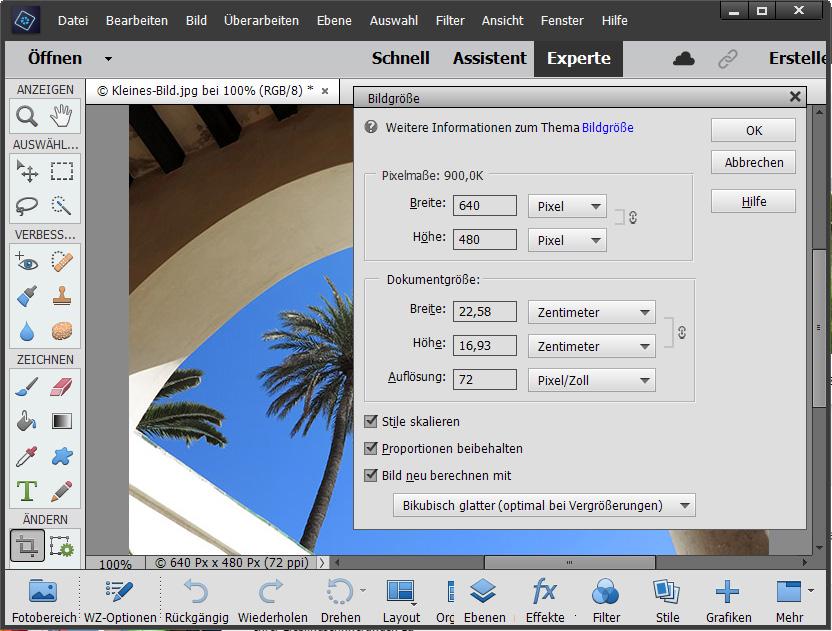 Bilder vergrößern / Bildgröße für Fotodruck erhöhen Schritt 1