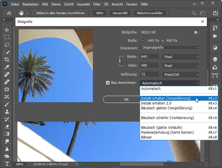 Bilder vergrößern / Bildgröße erhöhen mit Photoshop