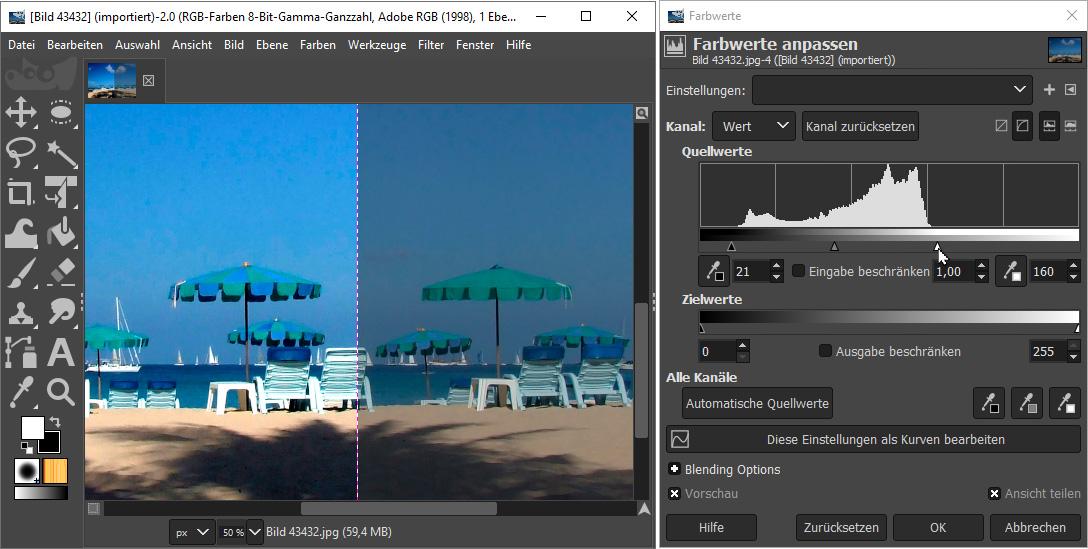Bilder verbessern - Tonwert-Korrektur