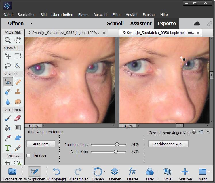 Fotos retuschieren: Rotgeblitzte Augen