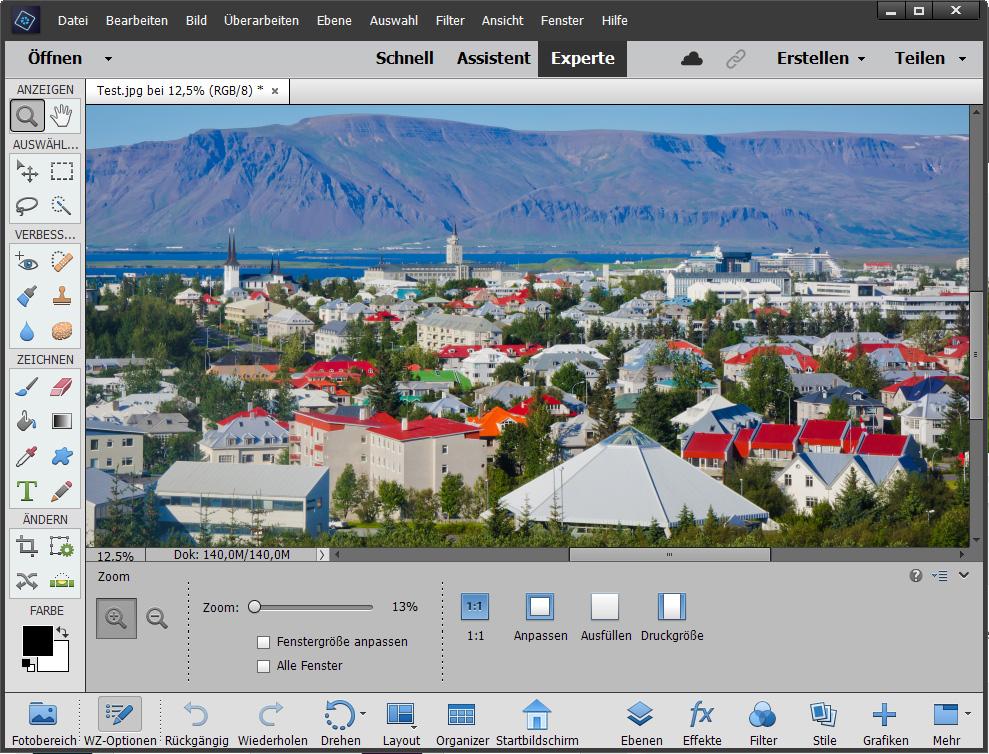 Bilder zoomen im Bildbearbeitungsprogramm