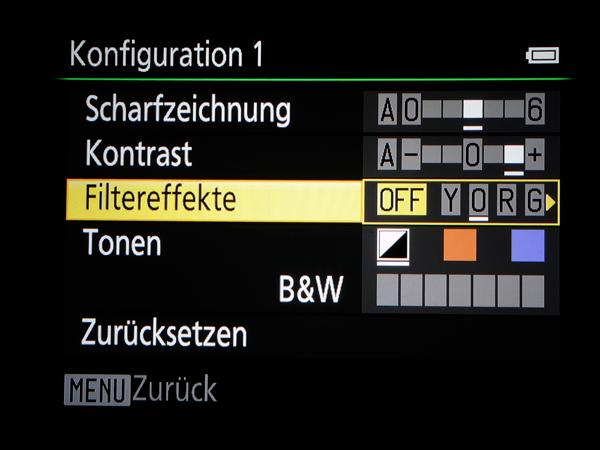 Filtereinstellungen bei Kameras