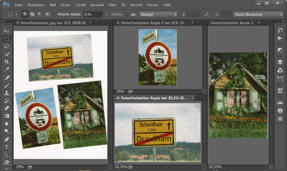 Bilder aufteilen in Photoshop
