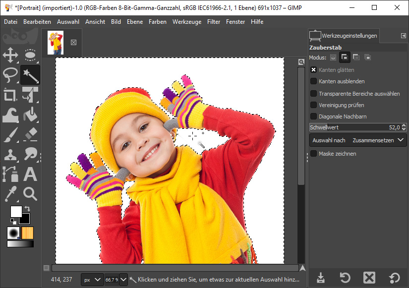 Foto Hintergrund ändern mit dem Zauberstab von Gimp