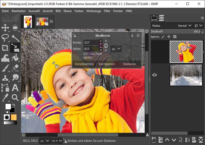 Foto Hintergrund ändern mit Gimp