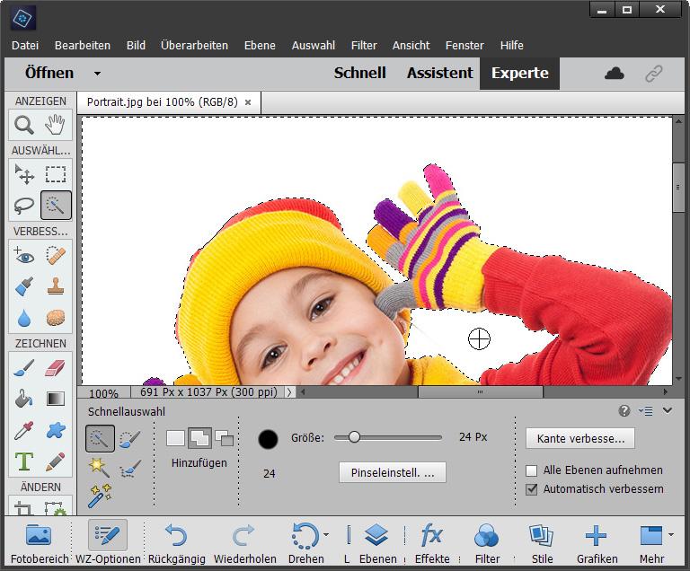 Foto Hintergrund ändern in Photoshop Elements