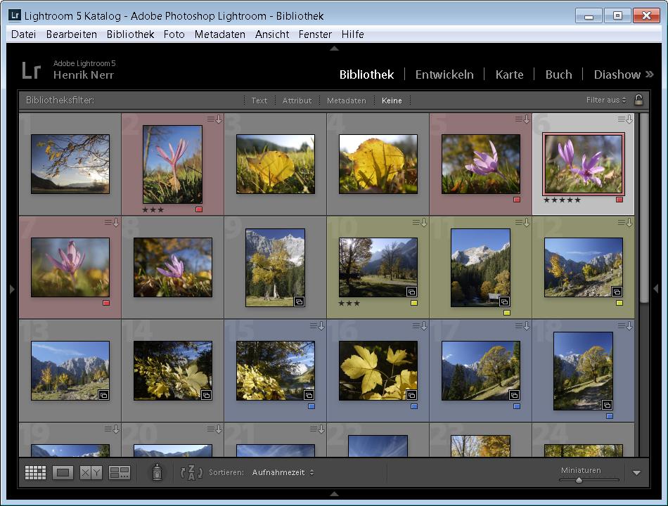 Markierung für Bilder in Lightroom