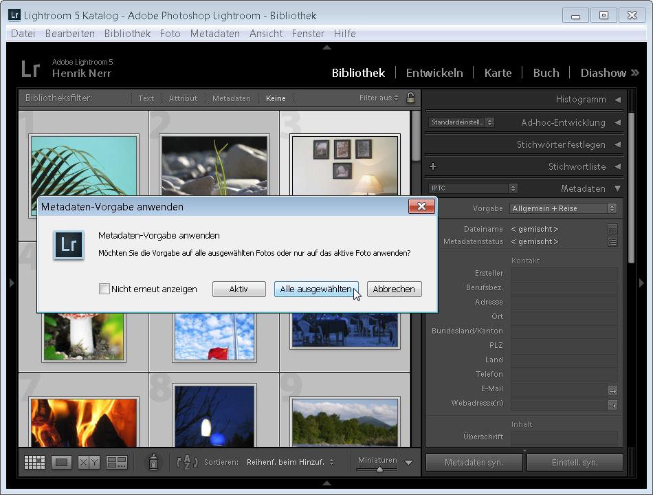Anwenden von Metadaten in Lightroom