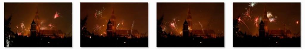 Feuerwerk fotografieren hinter einer Kirche