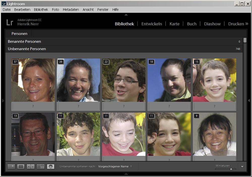 Gesichtserkennung Lightroom 6