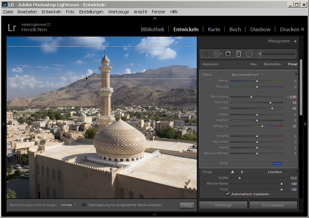Verlaufsfilter Funktion in Lightroom 6
