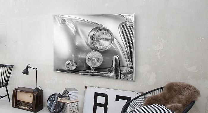 Geschenkidee mit Fotos: glänzender Oldtimer auf Alu-Dibond brushed