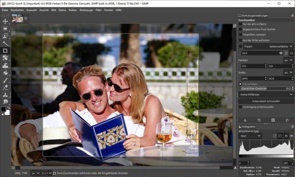 Gimp Bilder zuschneiden: Bildausschnitt