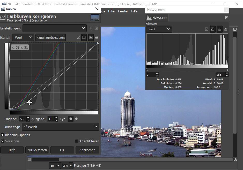 Gimp Bild aufhellen & verbessern: Wertebefehl & Histogramm