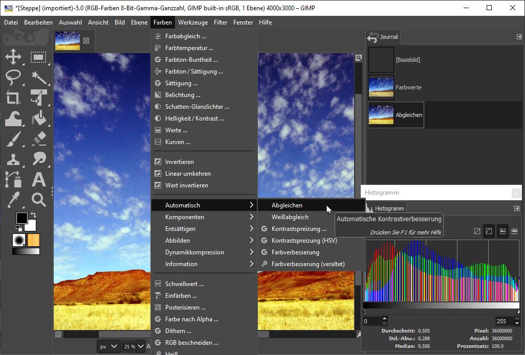 Gimp Bilder aufhellen & verbessern: Automatikbefehle