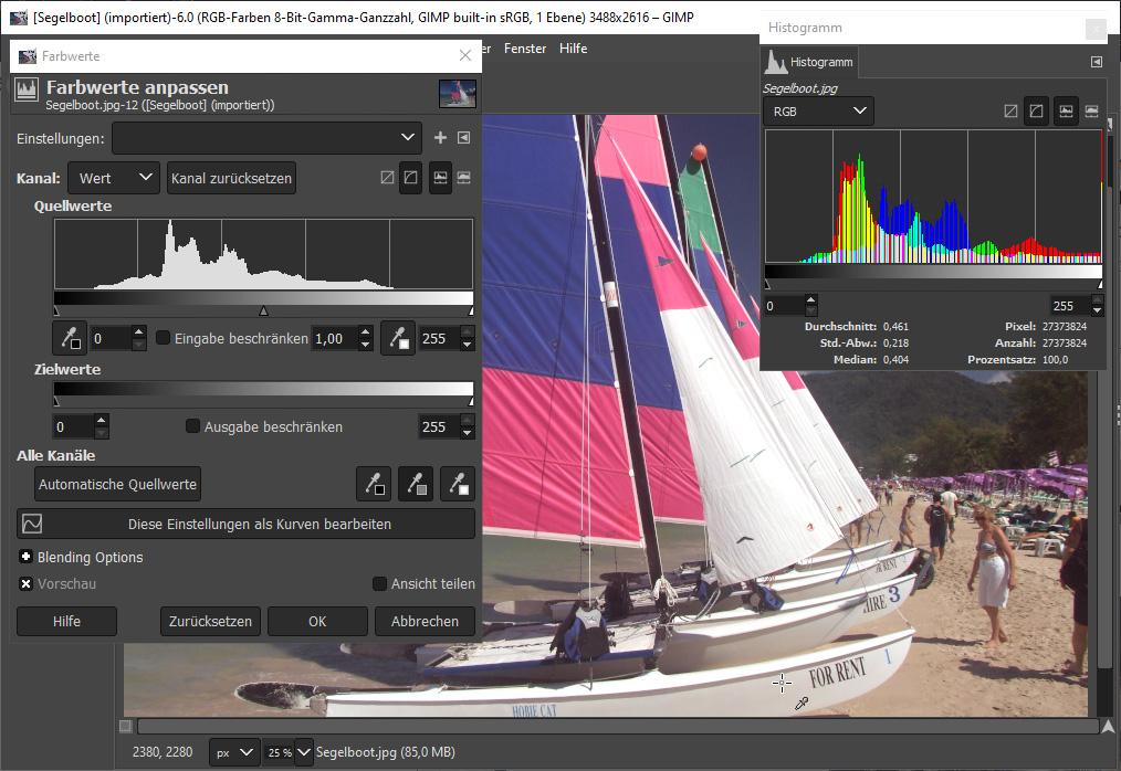 Gimp Bild aufhellen & verbessern: Arbeiten mit Pipetten, Bild 2
