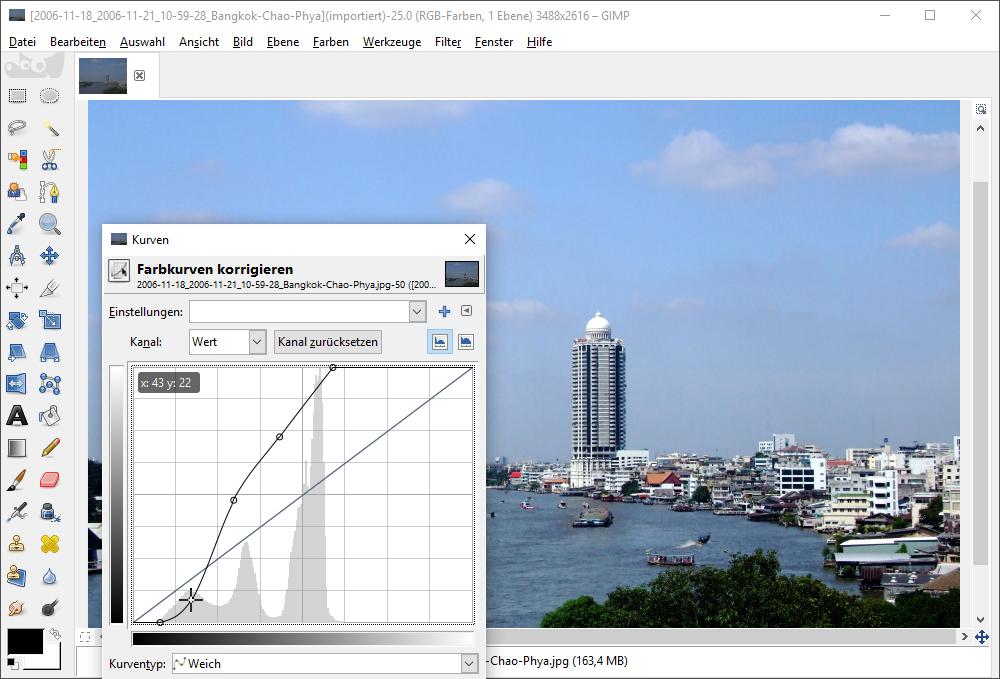 Tab-Anzeige der wichtigsten Kurven in GIMP
