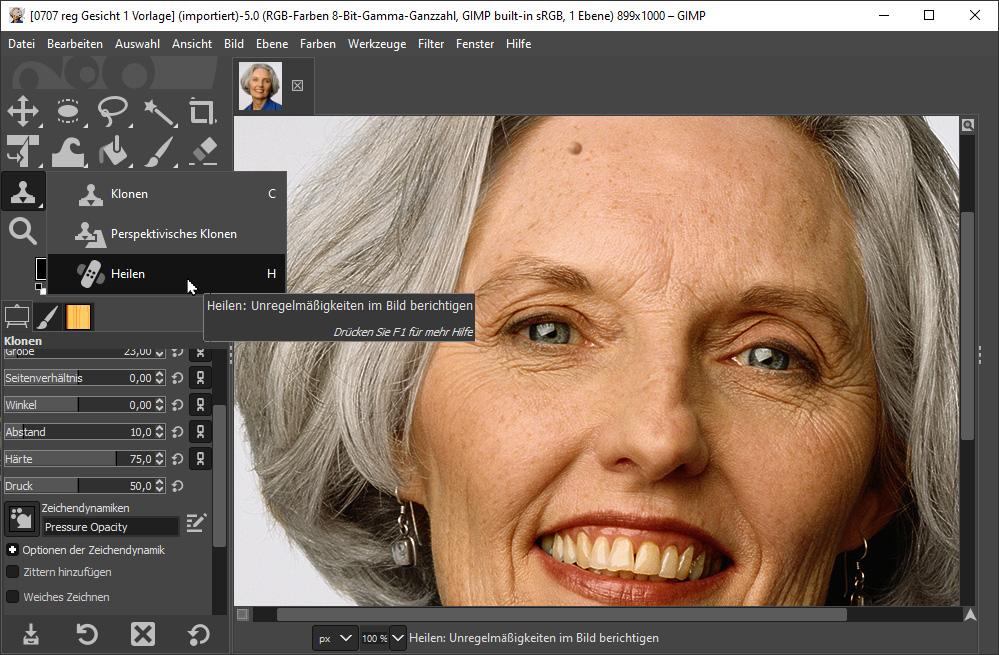 Das Heilen-Werkzeug im Bildbearbeitungsprogramm Gimp