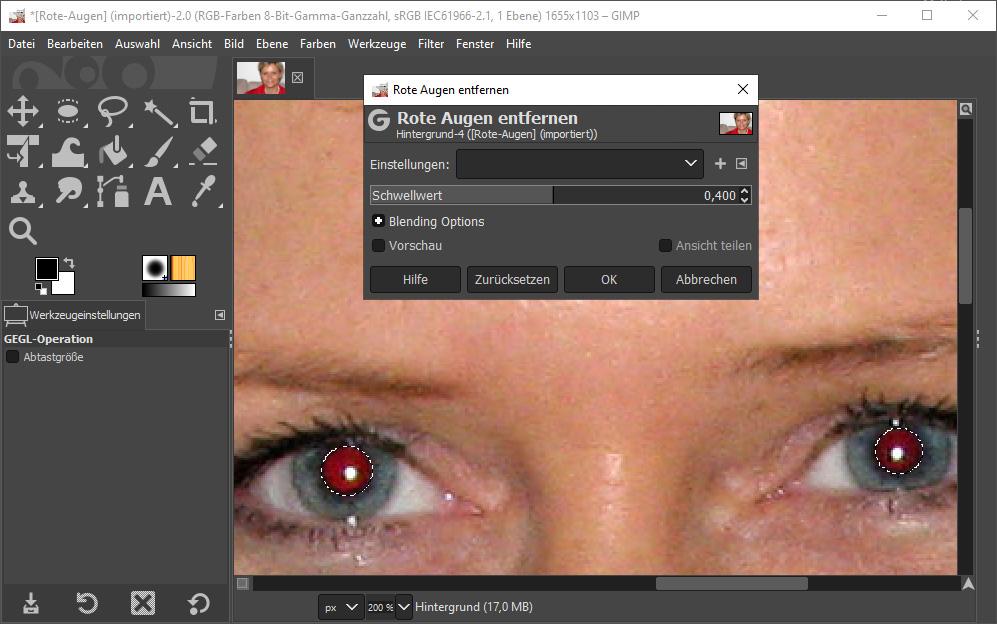 Bildbearbeitungsprogramm Gimp: retuschieren / Rote Augen entfernen