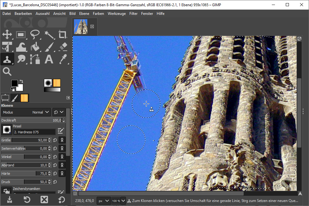 Bildbearbeitungsprogramm Gimp: Die Auswahl von Objekten schützt vor unbeabsichtigter Retusche