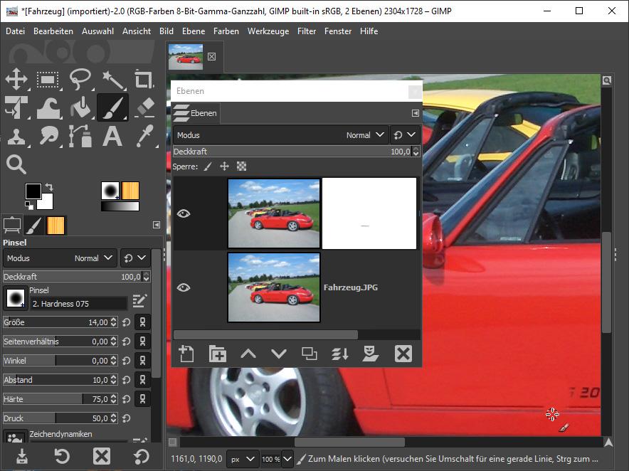 Mit dem Bildbearbeitungsprogramm Gimp Werbung von einem Auto entfernen - Bild 2