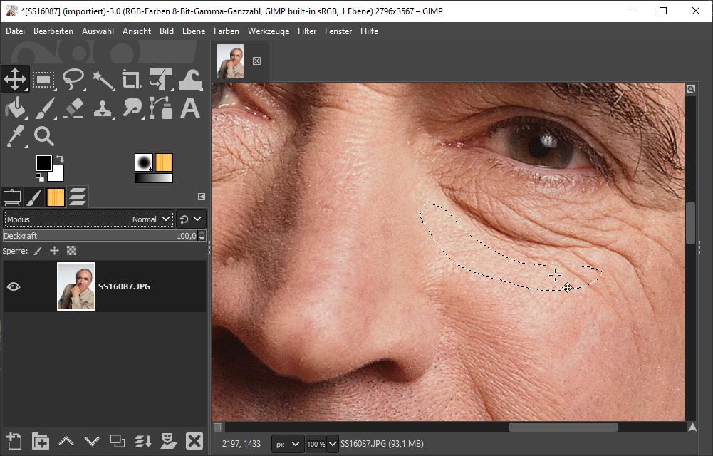 Mit dem Bildbearbeitungsprogramm Gimp retuschieren