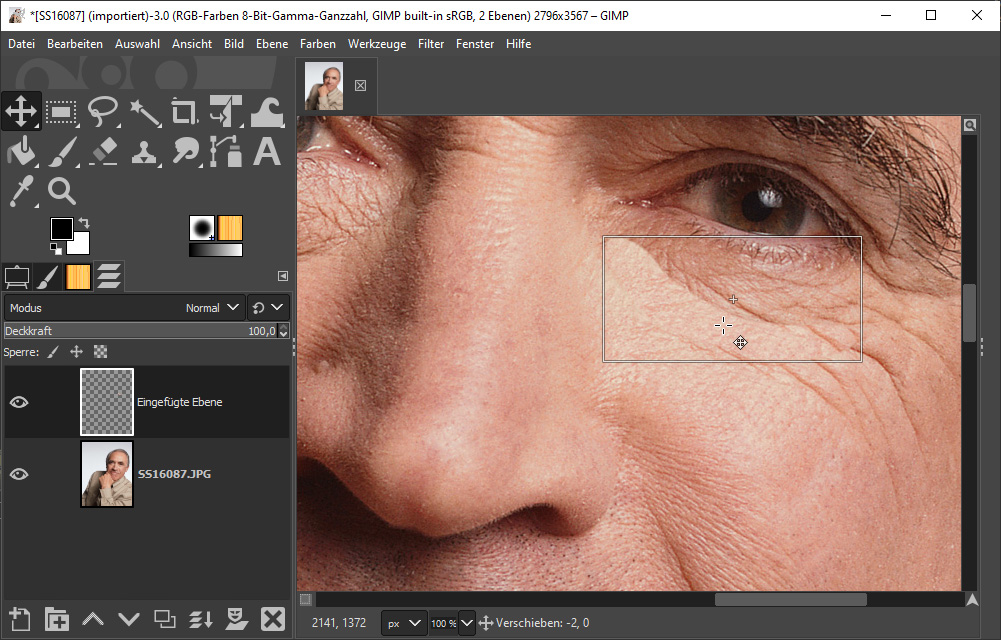 Mit dem Bildbearbeitungsprogramm Gimp Haut glätten - Bild 2