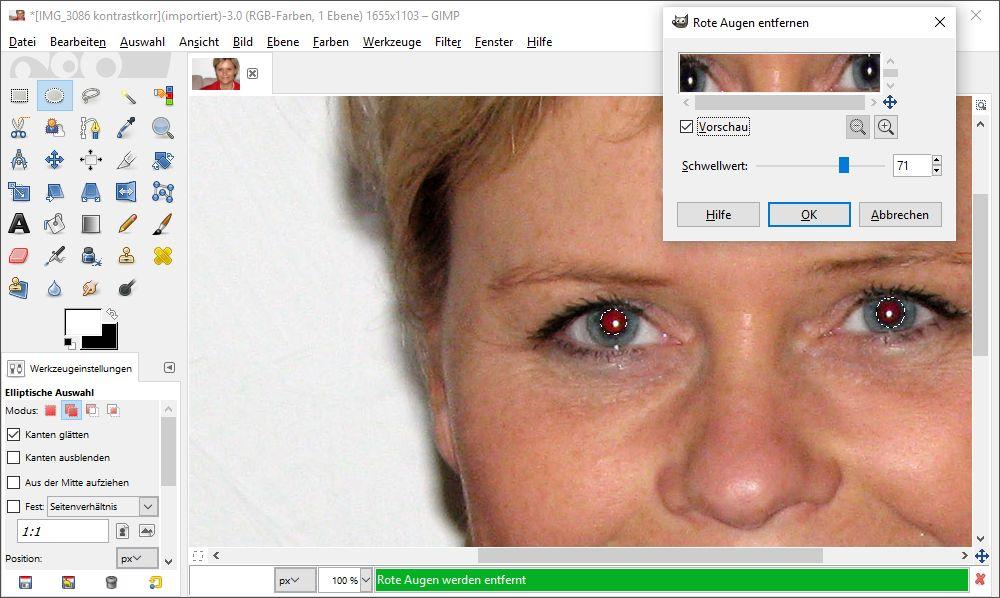 Rot geblitzte Augen