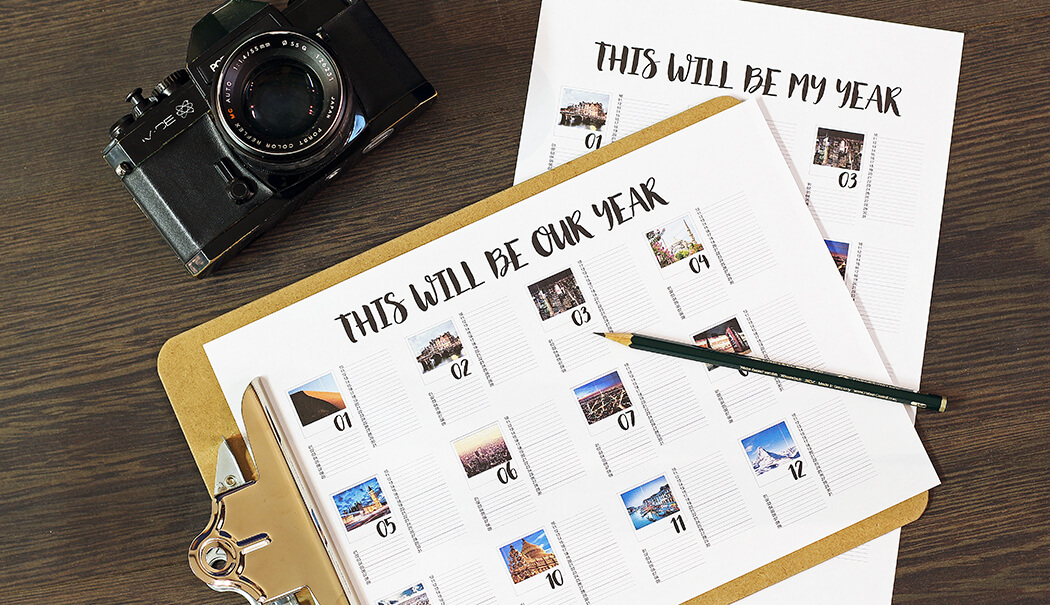 Jahreskalender als free printable Design-Vorlage