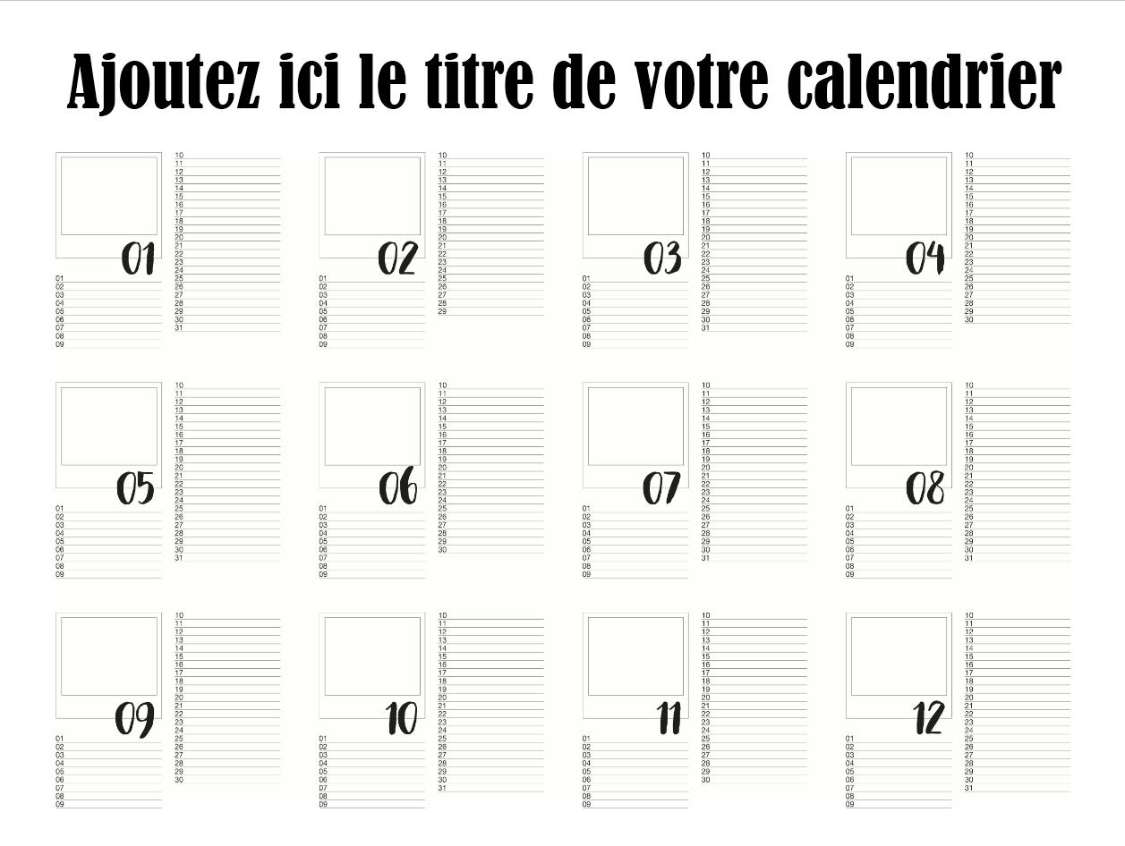 calendrier photo gratuit titre français