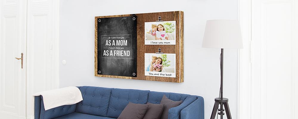 Muttertag-Idee: Memoboard-Vorlage auf Leinwand mit eigenen Fotos