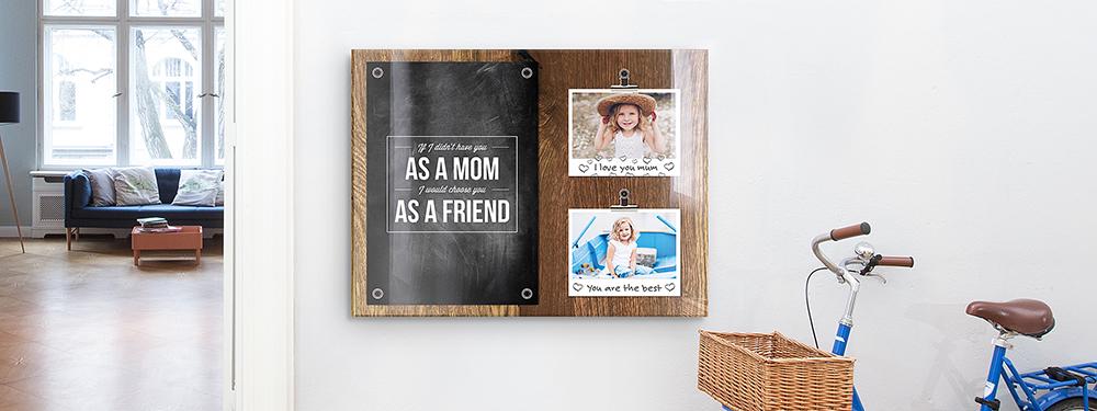 Muttertag-Idee: Muttertags-Collage als Memoboard auf Acrylglas
