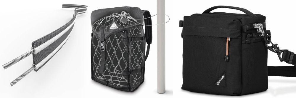 Die Firma Pacsafe bietet stahlverstärkte Gurte und Taschen sowie versenkbare und verriegelbare Reißverschluss-Schieber.