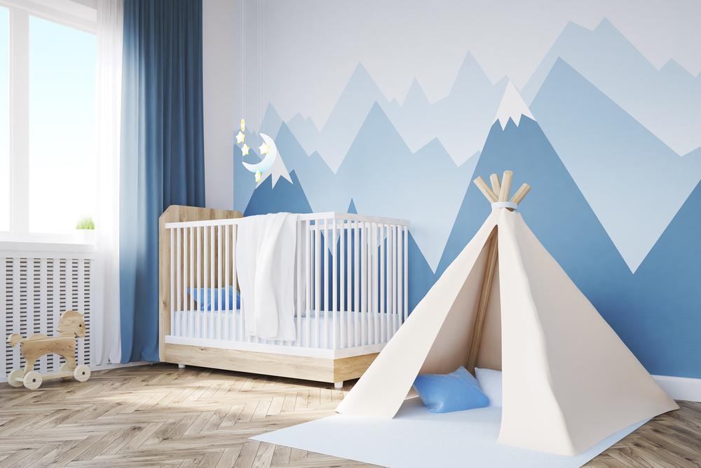 babyzimmer deko natur abenteuer selbst gemalte berg gipfel. Black Bedroom Furniture Sets. Home Design Ideas