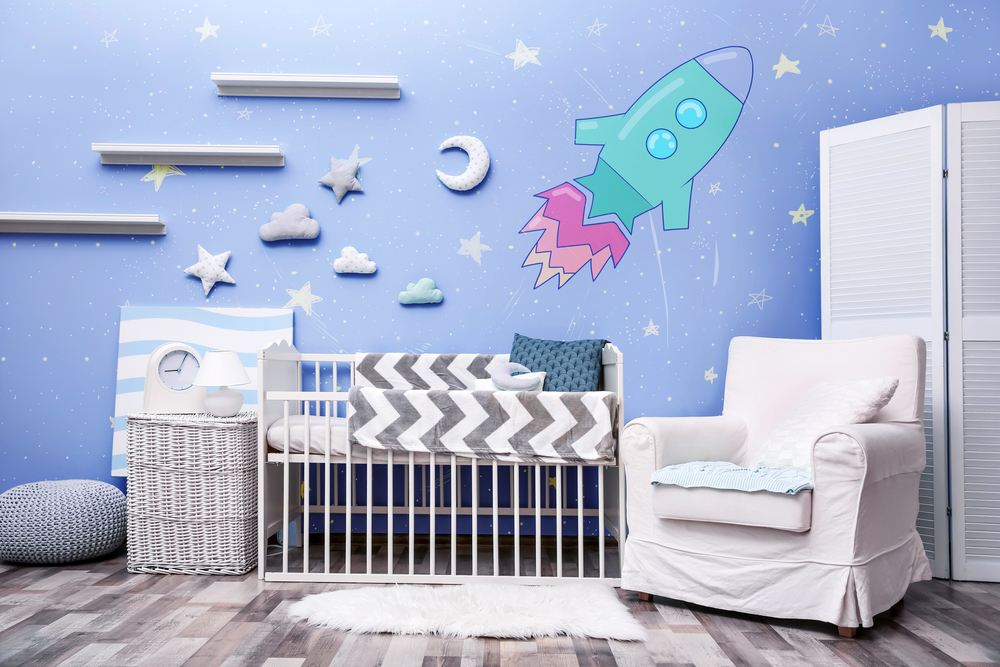 sternenhimmel mit rakete als deko idee f rs babyzimmer. Black Bedroom Furniture Sets. Home Design Ideas