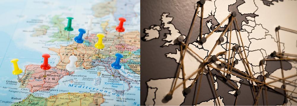 Weltkarte mit Pins Fäden Gummi