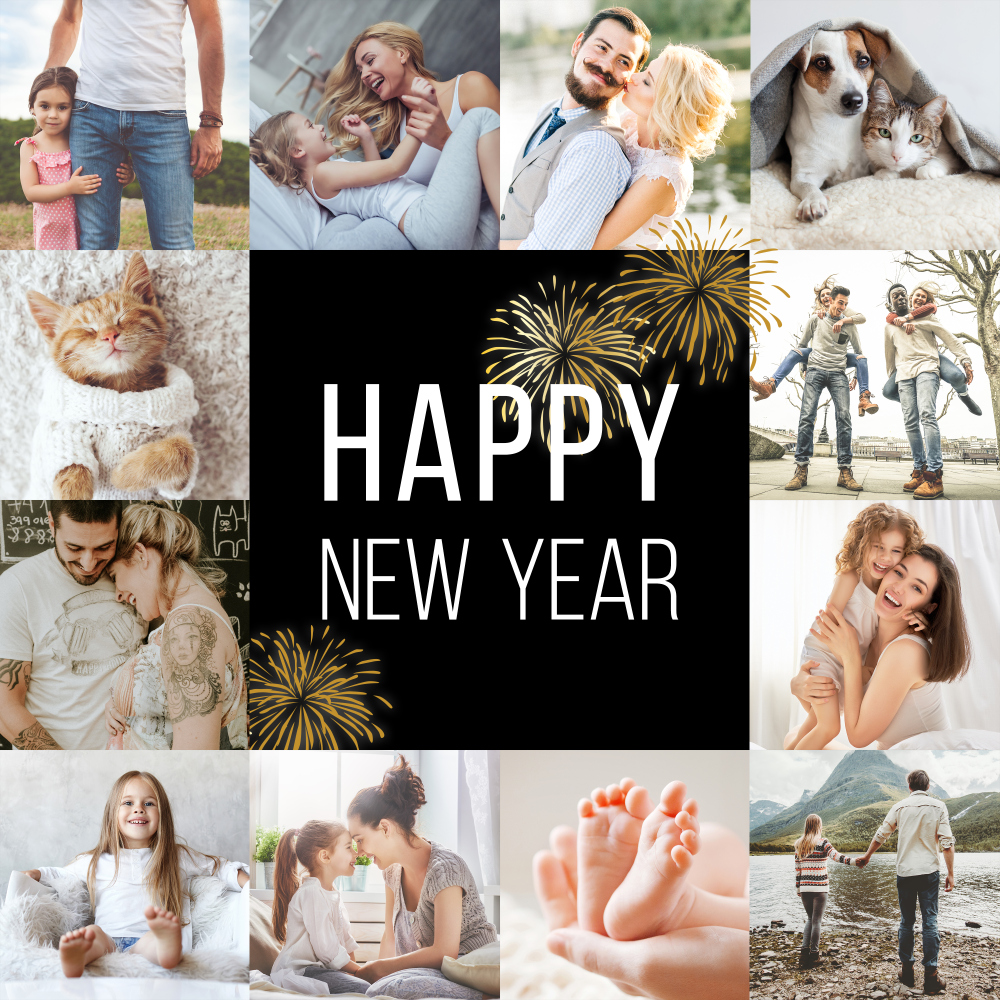 "Fotocollage ausdrucken ""Happy New Year"""