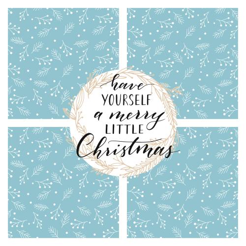 Weihnachtscollage xmas3 hellblau für 4 Fotos