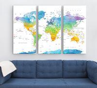 Ihre Weltkarte als 3-Teiler