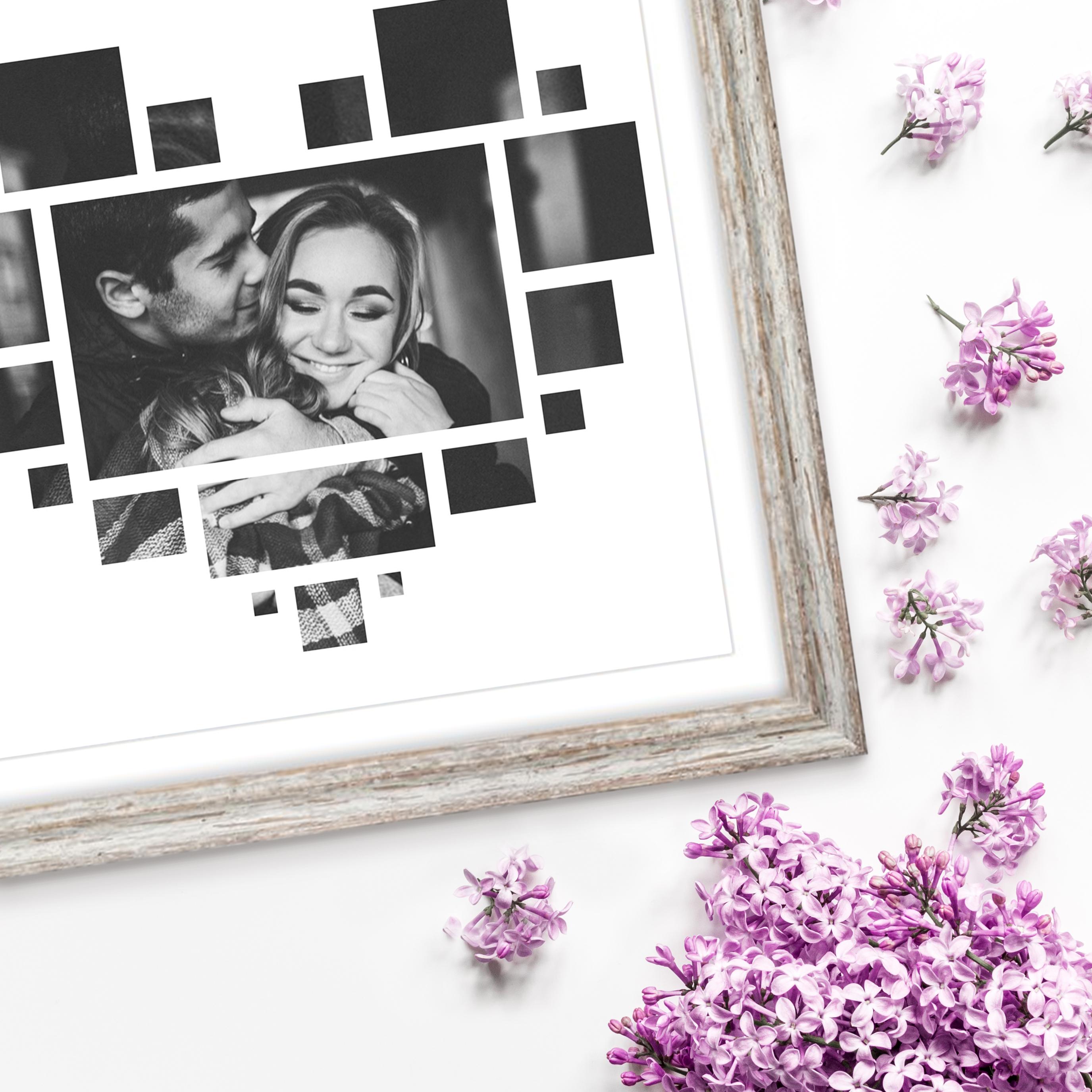 Paarfotografie / Pärchen Bilder Idee zum Valentinstag: Herz Fotocollage im Vintagerahmen