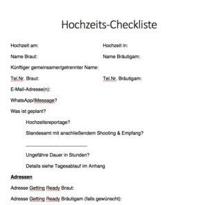Hochzeitsfotografie Tipps: Checkliste für Hochzeitsfotograf