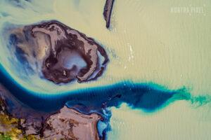 Drohnenfotografie: See in Island mit Inseln